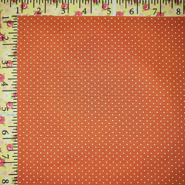 White Dots on Orange Fabric Print #1258 Orange White Dots Cotton Fabric Printed on one side 57W FFD2018HT Pindots