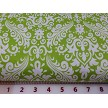 Lime on White Damask