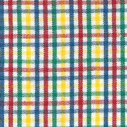 Yellow Red  Blue and Green Check Fabric #T101