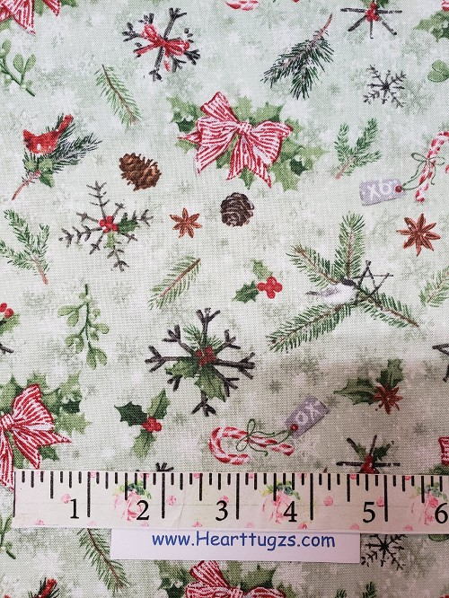 Candy Canes Bows Stars Holly XO Christmas Fabric - Wilmington